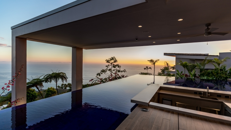 pool sunset view